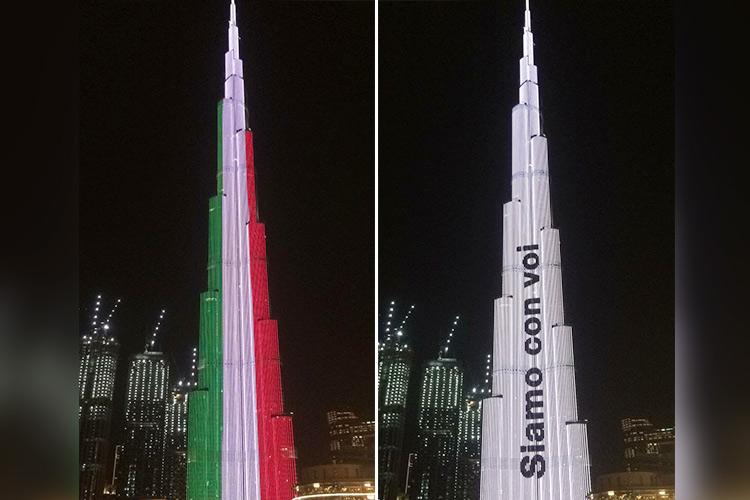 El rascacielos Burj Khalifa de Dubai se ilumina con la bandera de España