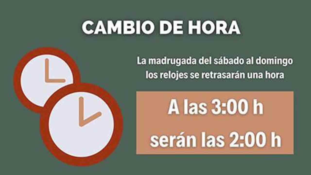 La madrugada del próximo domingo, 25 de octubre, finaliza el horario de verano